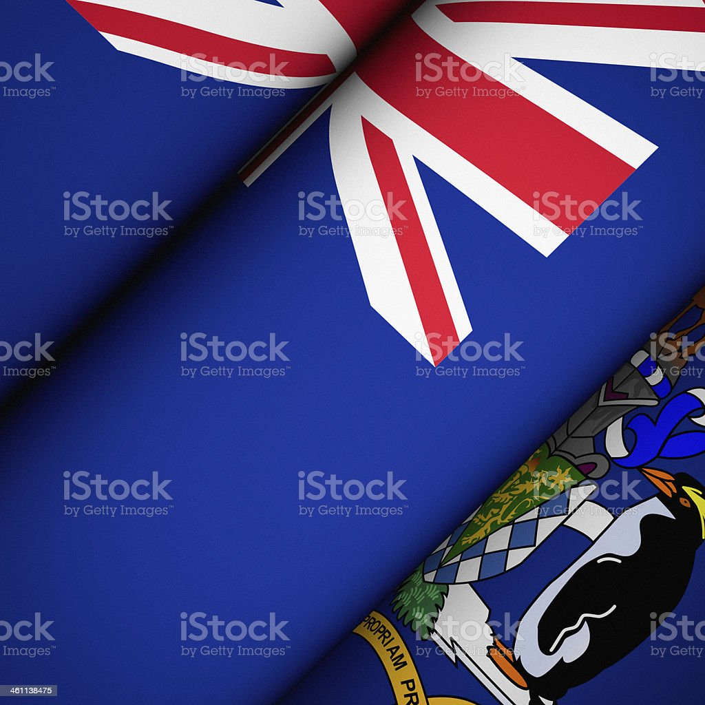 Iconic Flag of South Georgia and the S. Sandwich Islands stock photo