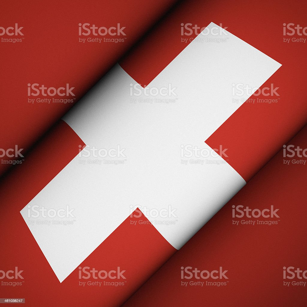 Iconic Flag of Switzerland stock photo