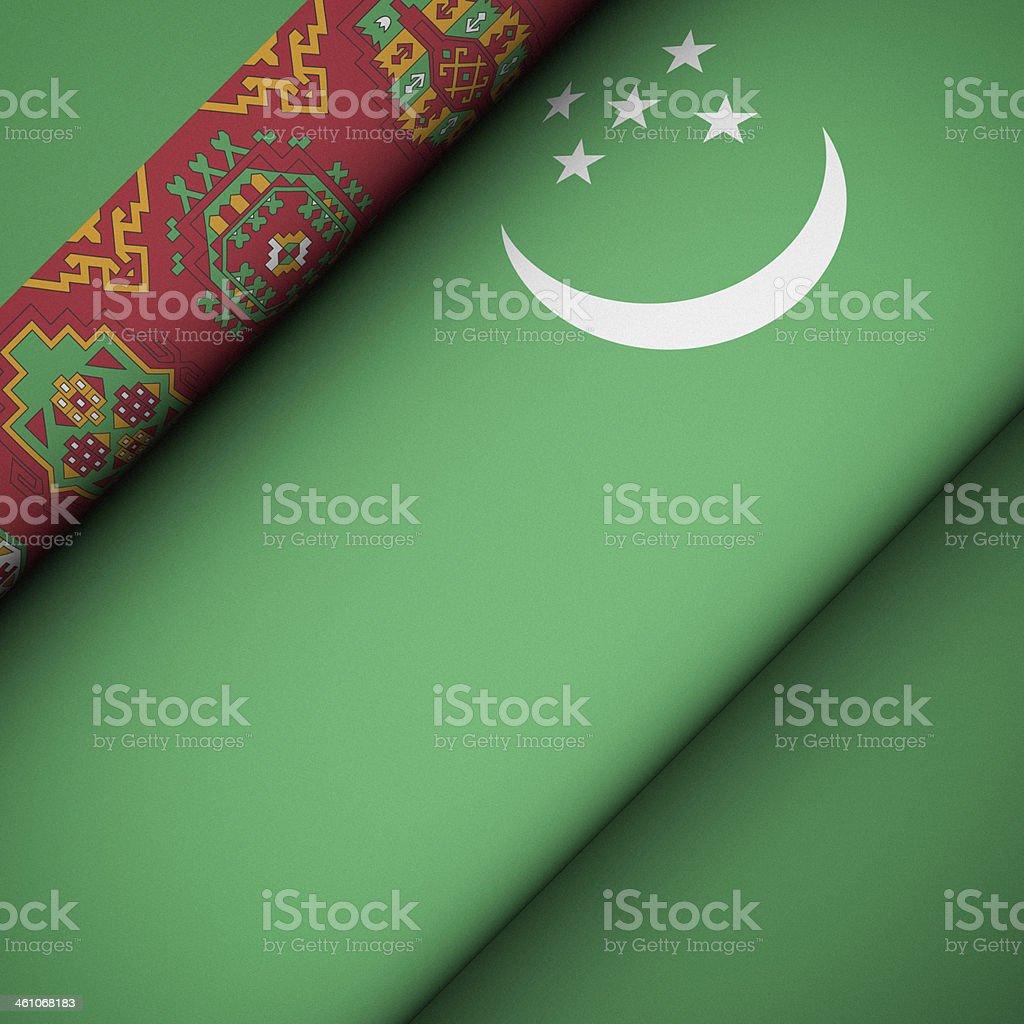 Iconic Flag of Turkmenistan stock photo