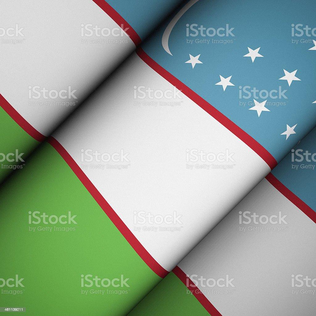 Iconic Flag of Uzbekistan stock photo
