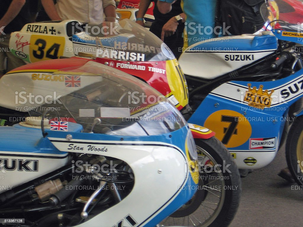 Iconic Grand Prix motorcycles at the Goodwood Festival of Speed. stock photo