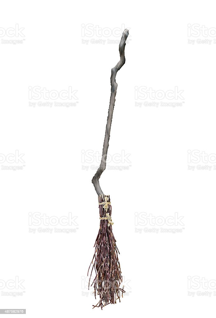 Iconic Halloween witch broom made of sticks stock photo