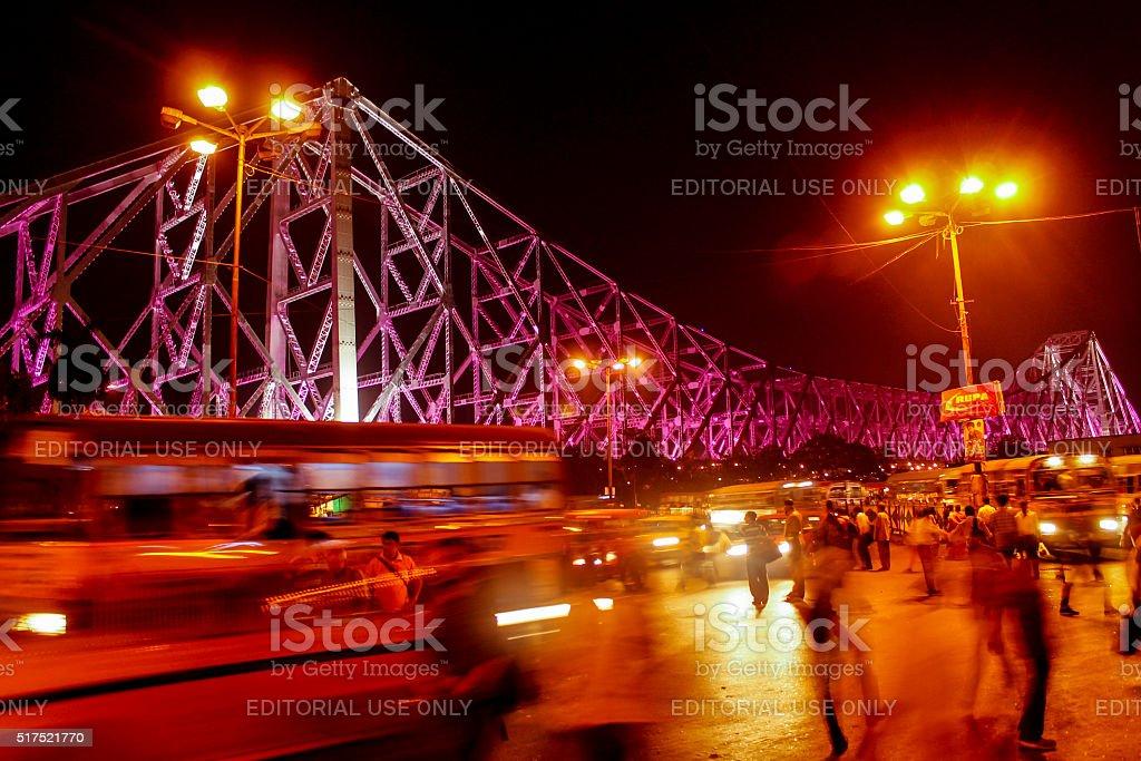 Iconic Howrah Bridge stock photo