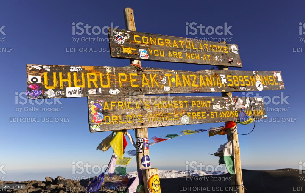 Iconic Kilimanjaro Summit Post stock photo