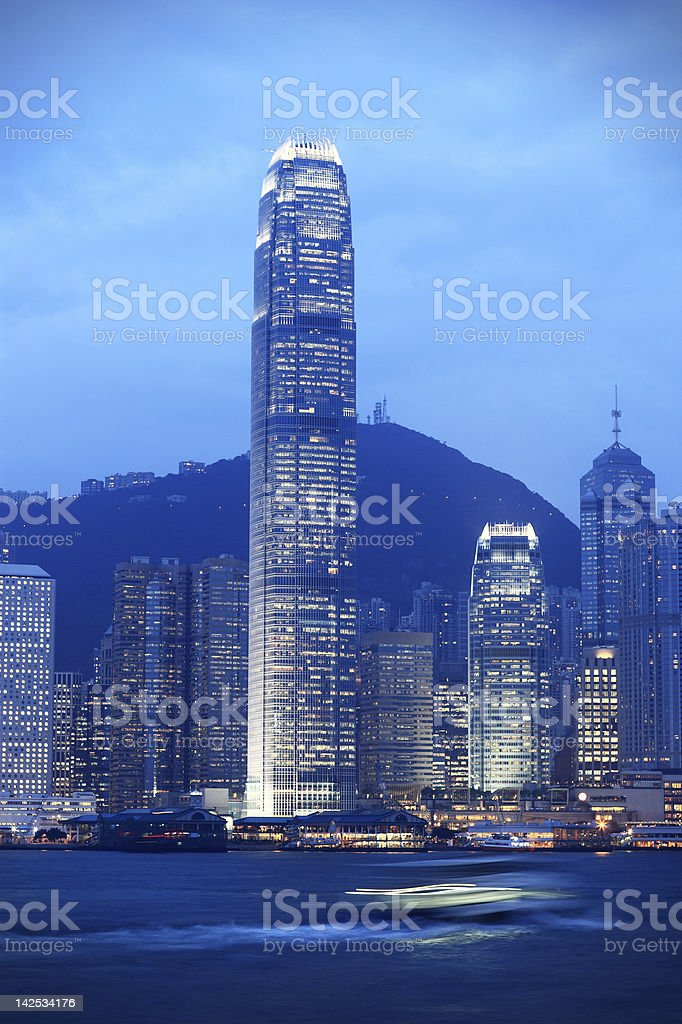 Iconic night scene of Hong Kong royalty-free stock photo