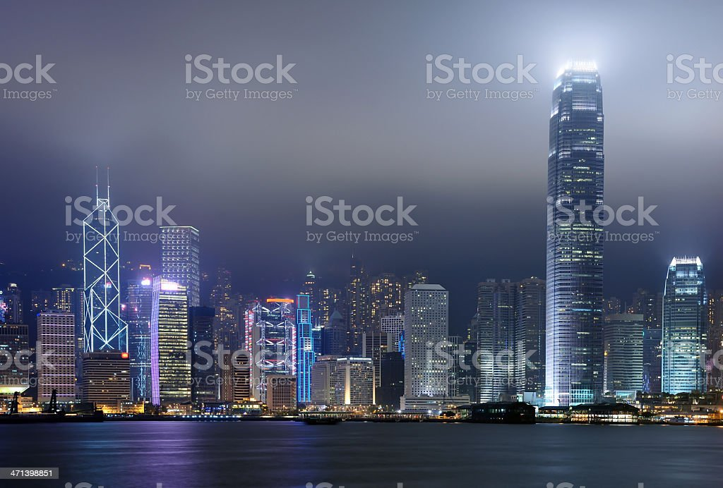 Iconic night scene of Hong Kong royalty-free stock photo