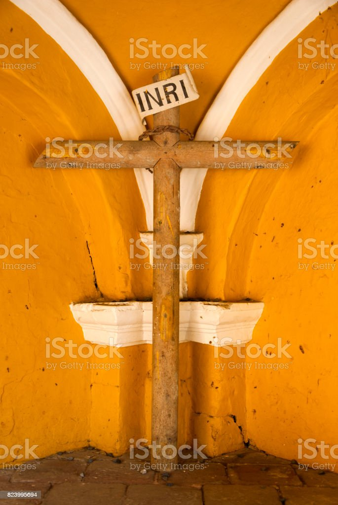 Iconic photo. Symbolic image of Jesus crucifixion. Guatemala stock photo