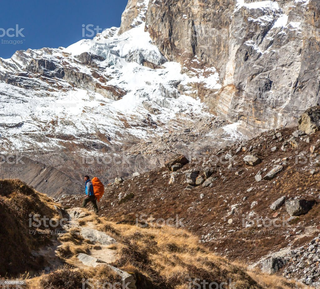 Iconic Portrait of Nepalese Mountain Guide staying on Footpath stock photo