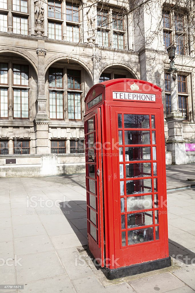 iconic red British telephone box in London stock photo