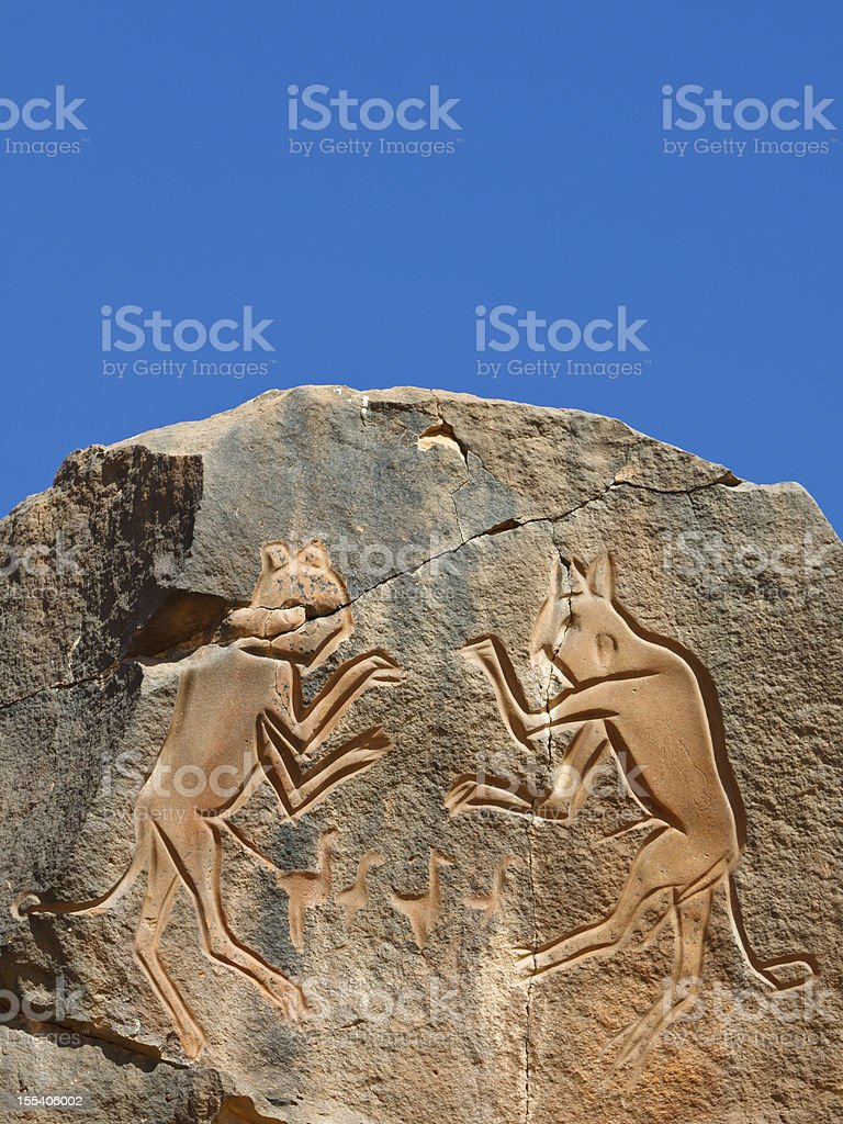 Iconic Rock Engraving, UNESCO World Heritage Site royalty-free stock photo