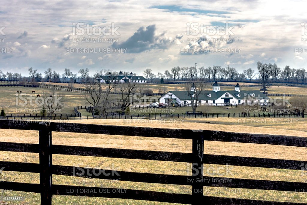 Iconic scenc of a thoroughbred farm in Kentucky stock photo