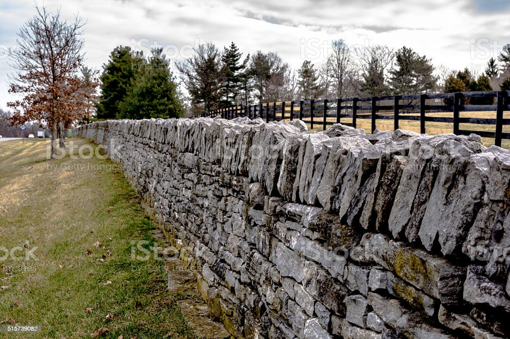 Iconic stone fence in Lexington, Kentucky stock photo