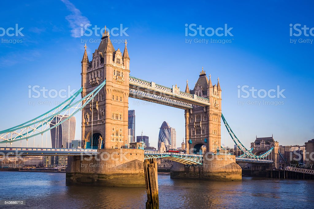 Iconic Tower Bridge in the morning sunlight stock photo