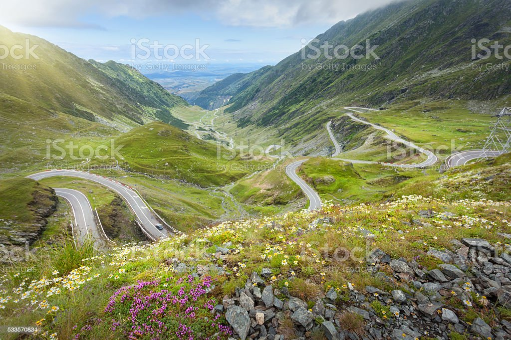 Iconic Transfagarasan highway at idyllic sunny day stock photo