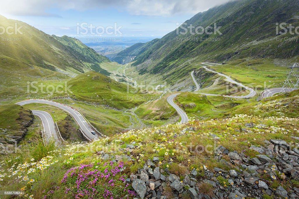 Iconic Transfagarasan highway at idyllic sunny day stock photo