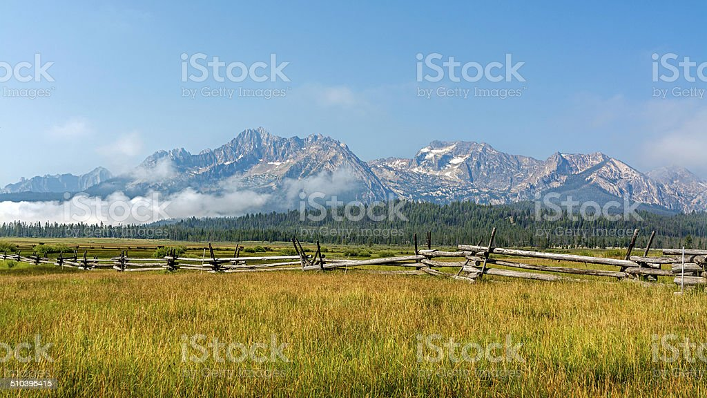 Iconic view of the Sawooth mountains in Idaho stock photo