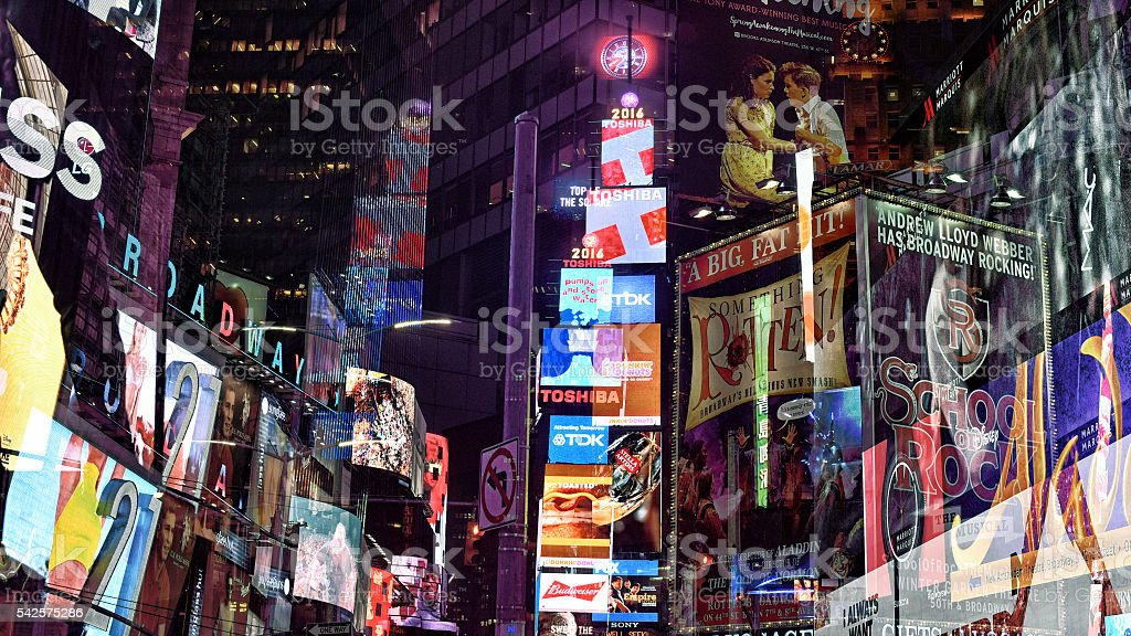 iconing advertising in times square stock photo