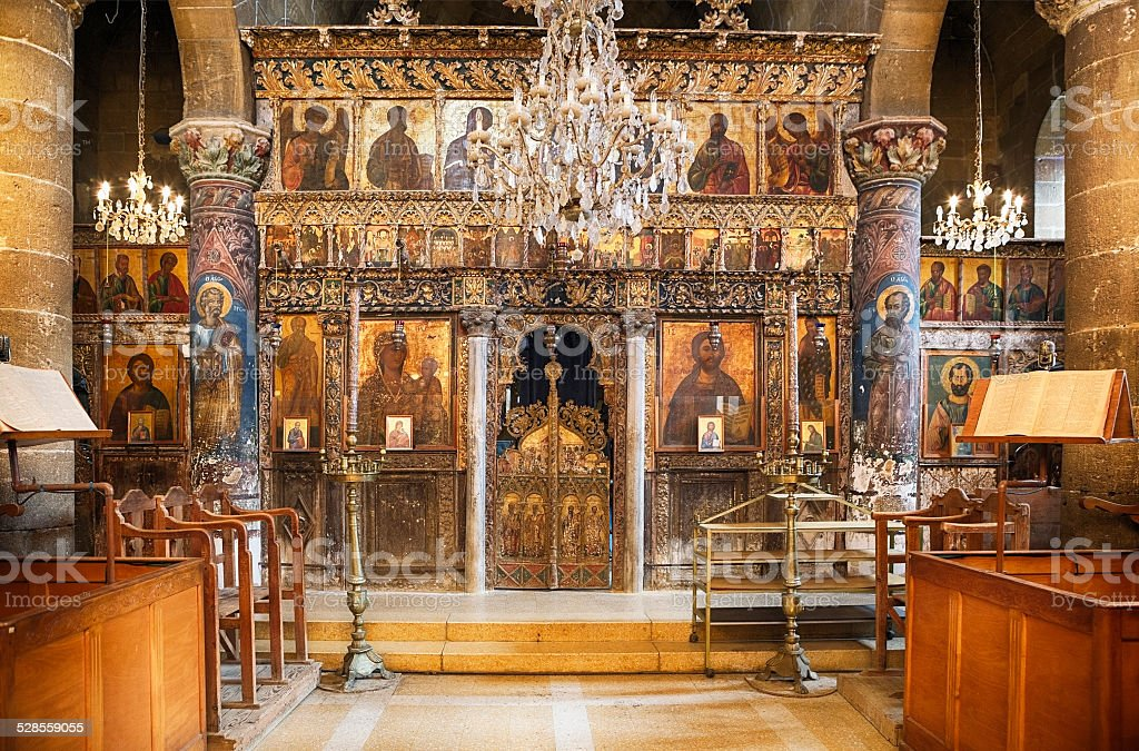 Iconostasis of St. Mamas Monastery stock photo