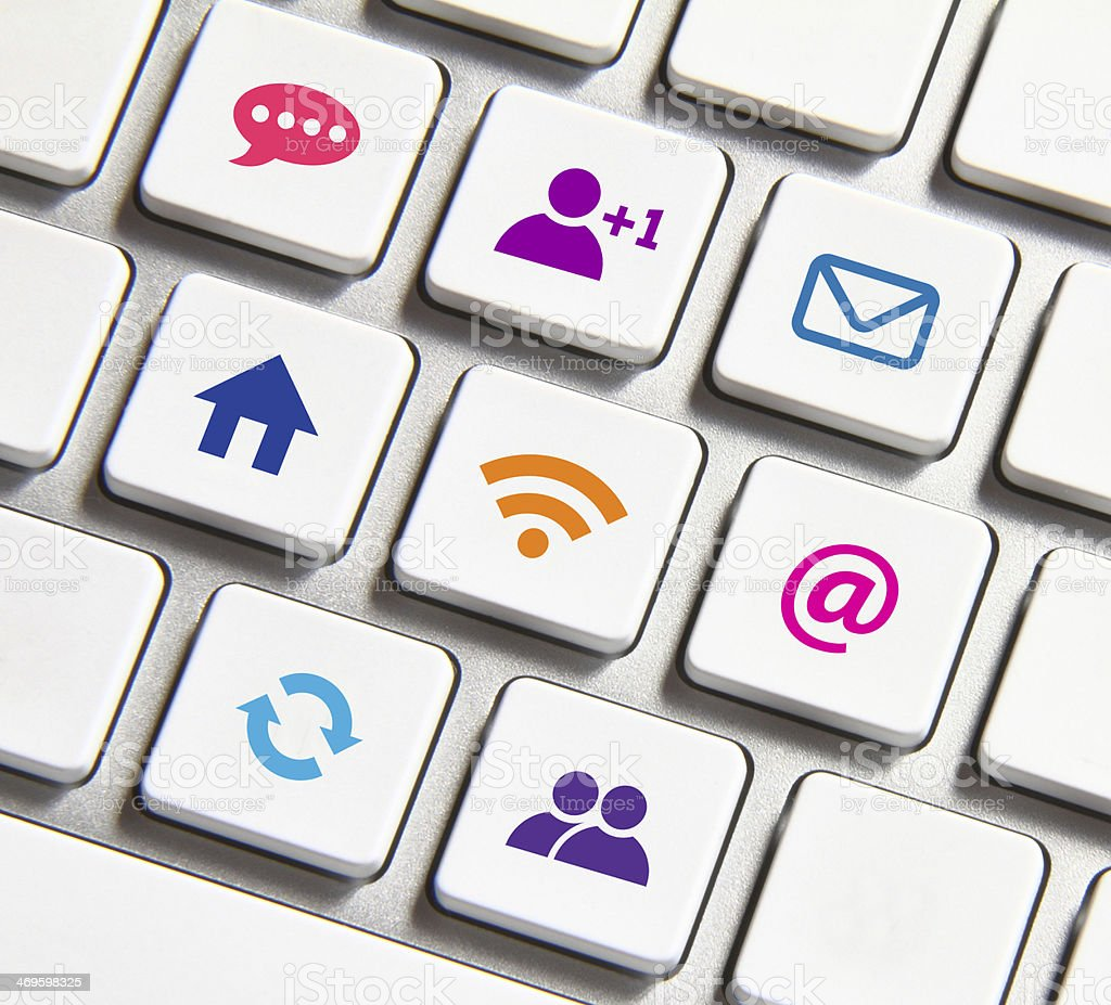 Icons and keyboard stock photo