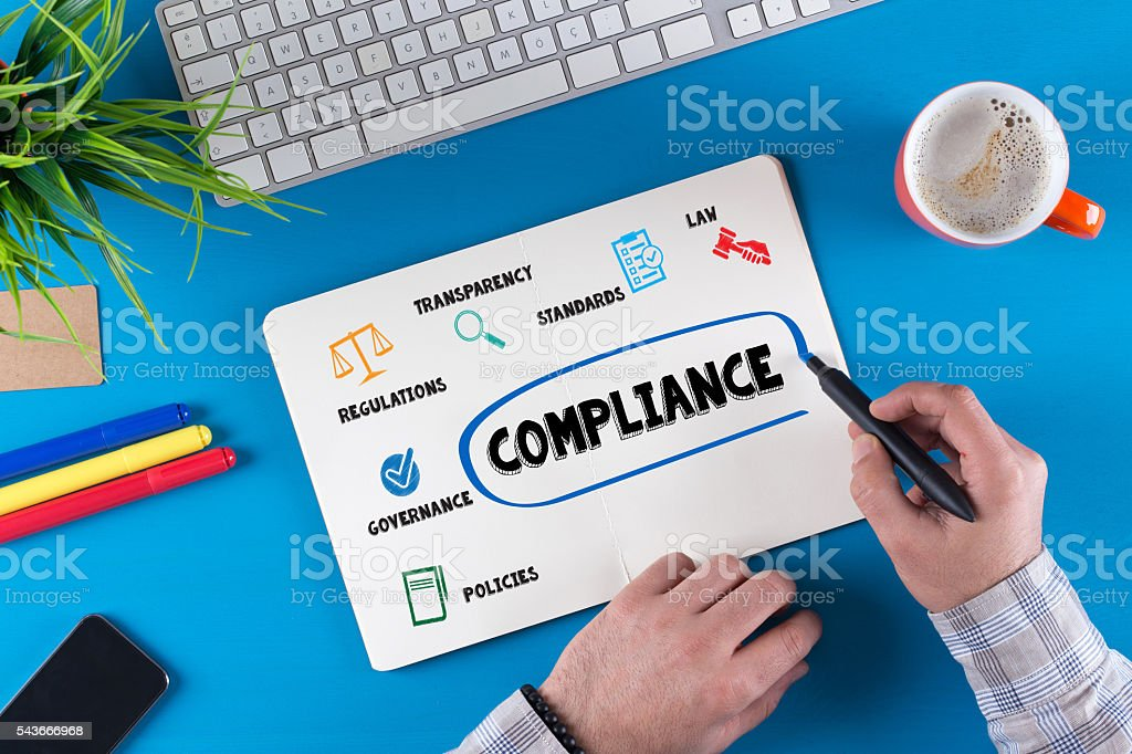 COMPLIANCE Icons and Keywords on Notepad stock photo