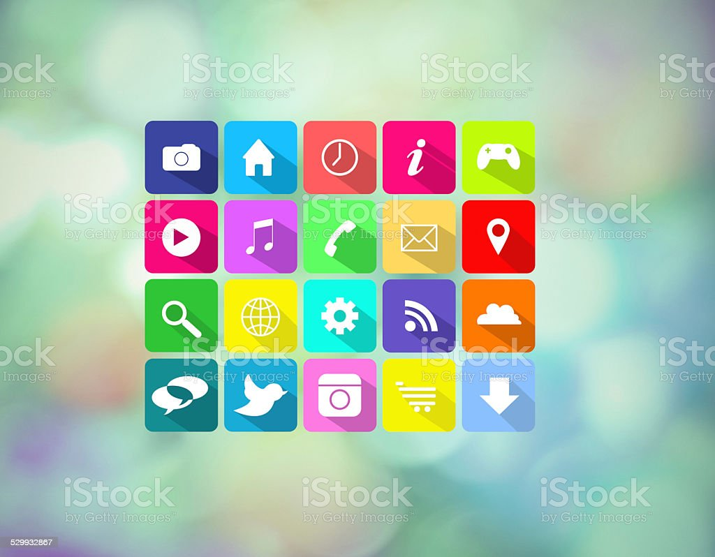 Icons for today's digital lifestyle stock photo