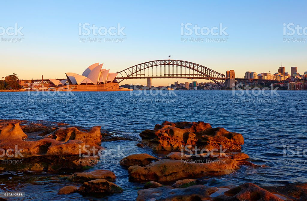 Icons Of Sydney From Mrs Macquarie's Point stock photo