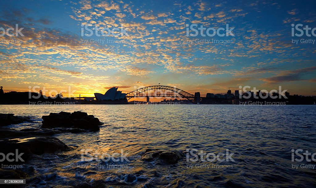 Icons Of Sydney Harbour At Sunset stock photo