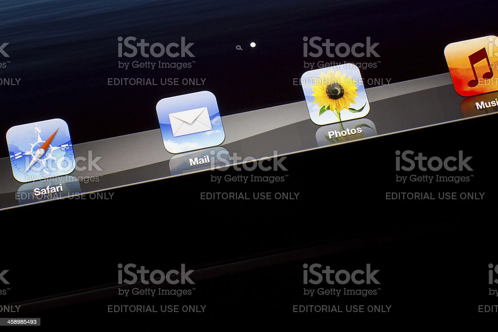 Icons on New iPad desktop stock photo
