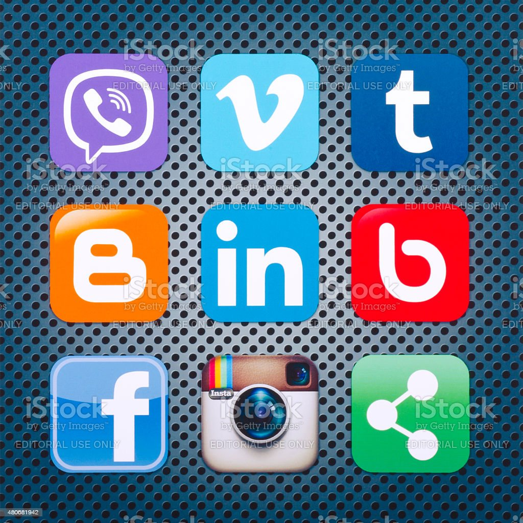 Icons popular social networking applications stock photo