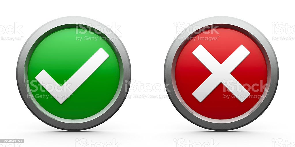 Icons tick & cross stock photo