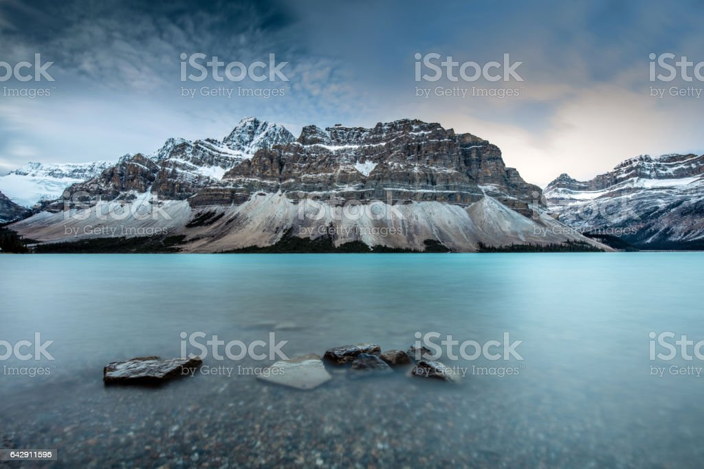 Icy Blue Bow Lake on the Icefield Parkway stock photo