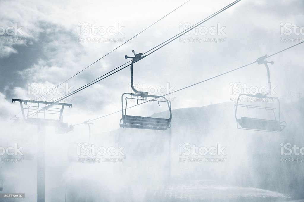 Icy Chairlift stock photo