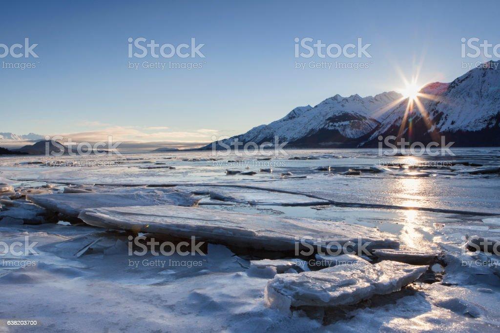 Icy Chilkat Sunset stock photo