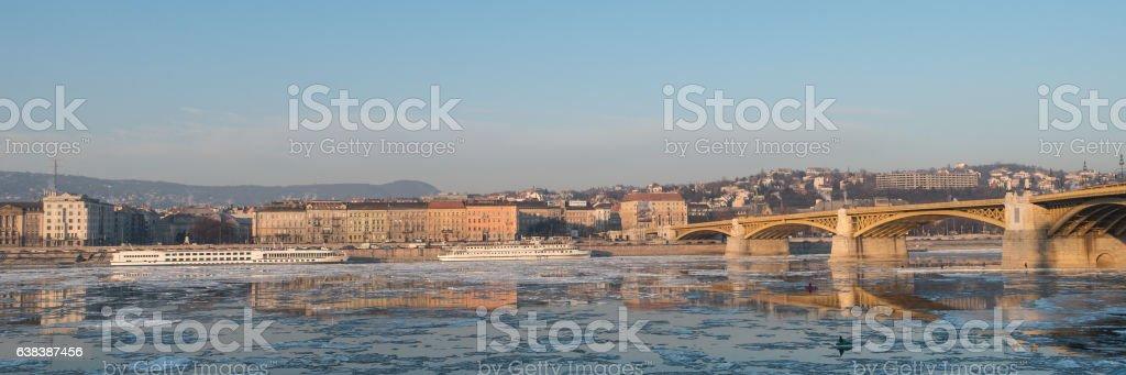 Icy Danube Budapest stock photo