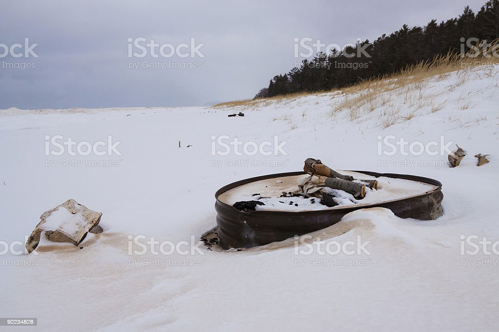 Icy Fire Pit royalty-free stock photo