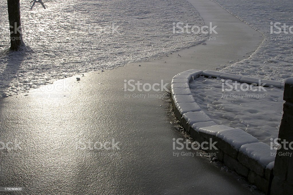 Icy Footpath stock photo