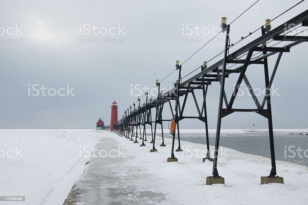 Icy Grand Haven royalty-free stock photo