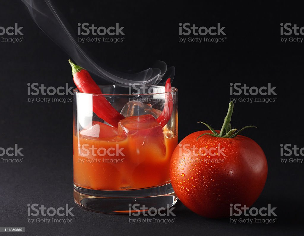 Icy hot tomato drink stock photo