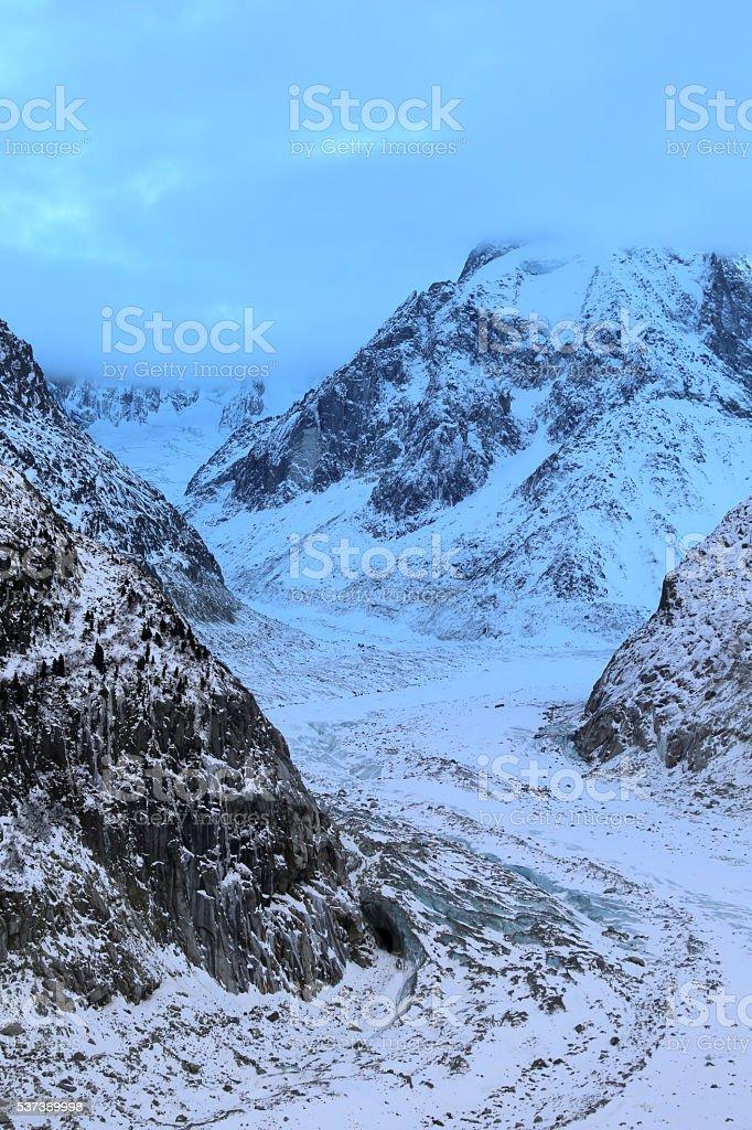 Icy light at Mer de Glace glacier, Chamonix, France II stock photo