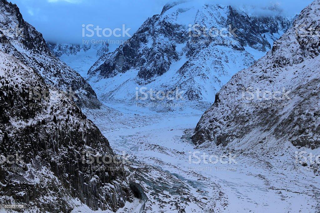 Icy light at the Mer de Glace glacier, Chamonix I stock photo