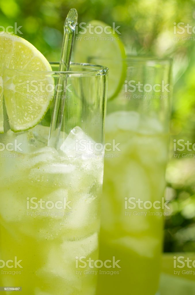 Icy Lime Drinks Served Outdoors royalty-free stock photo