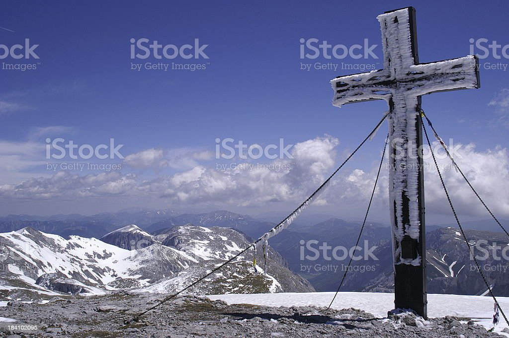 Icy mountain cross royalty-free stock photo