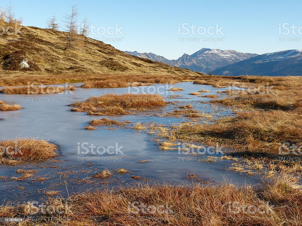 icy mountain lake in autumn mountains royalty-free stock photo