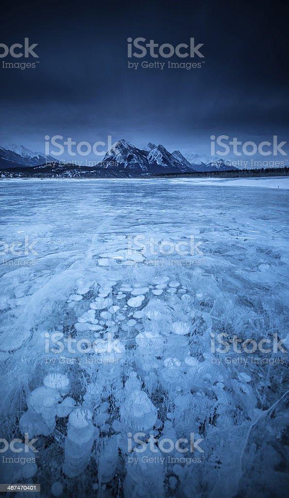 Icy Mountain Lake stock photo