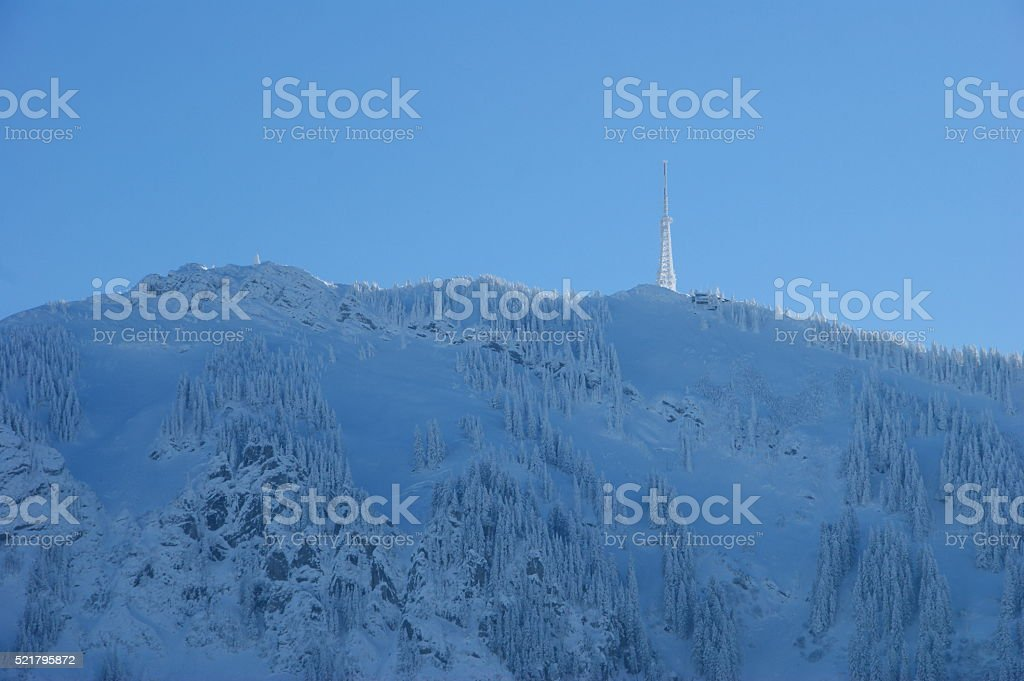 Icy mountain stock photo