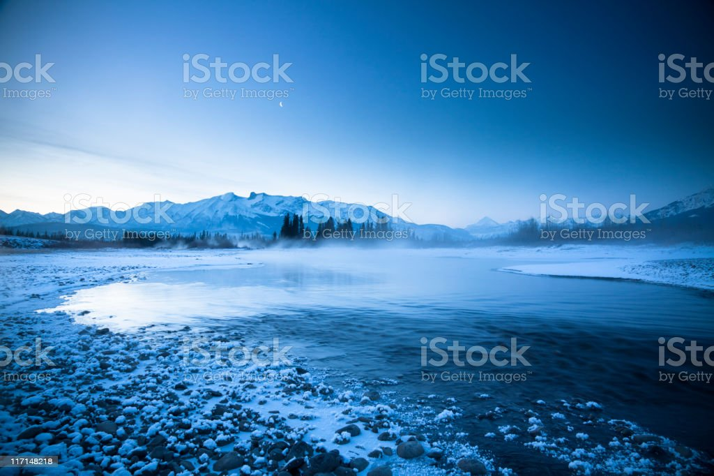 Icy Mountain River stock photo