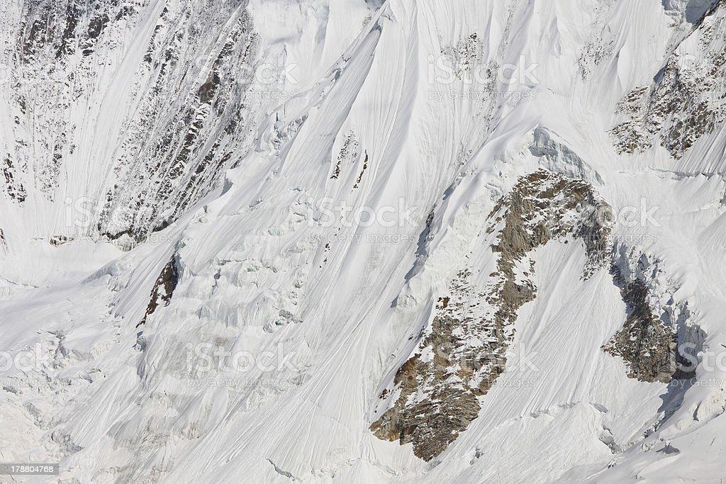 Icy Mountain Slope, Karakorum, Pakistan stock photo