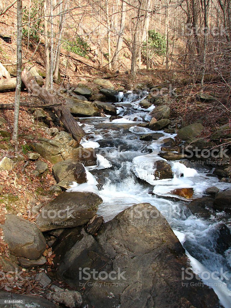Icy mountain stream stock photo