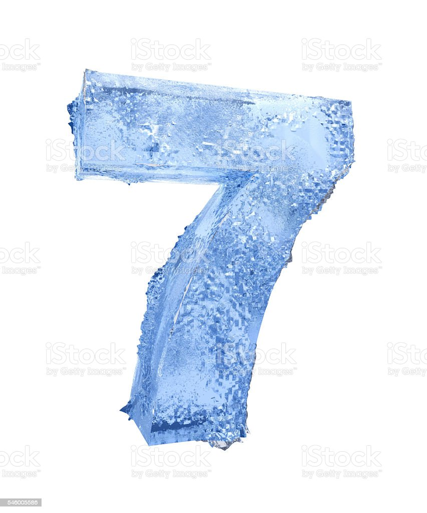Icy number Seven stock photo