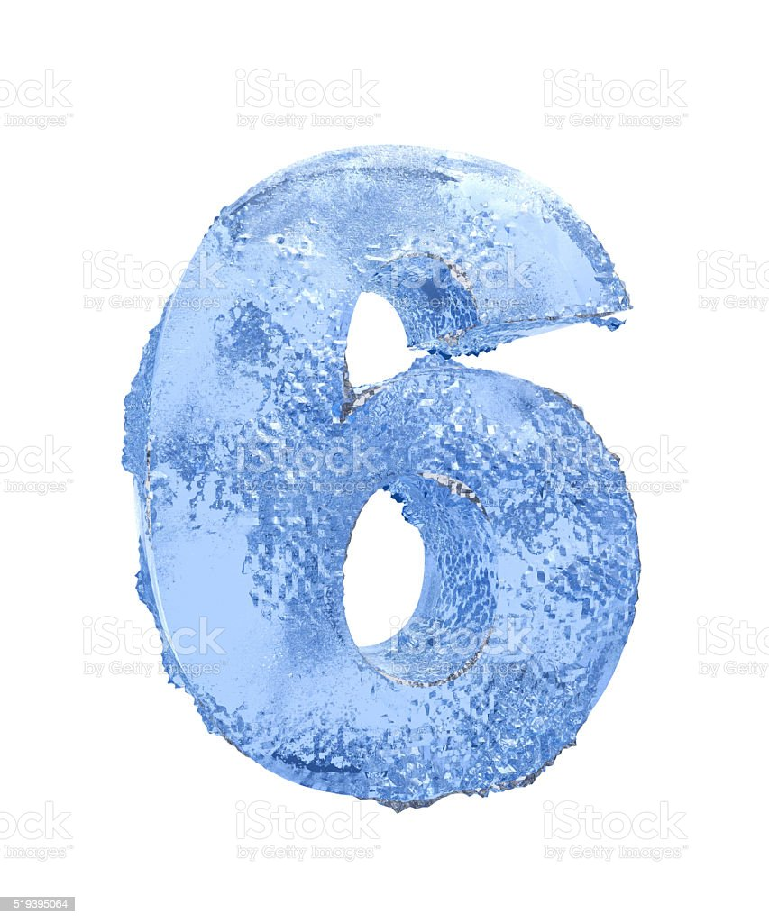 Icy number Six stock photo